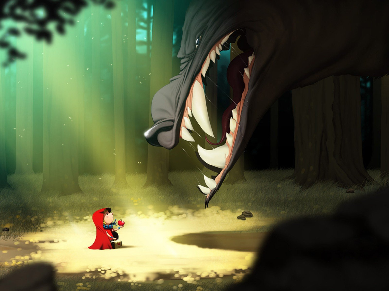 Cartoons forests little red riding hood red hood wolves - Hood cartoon wallpaper ...