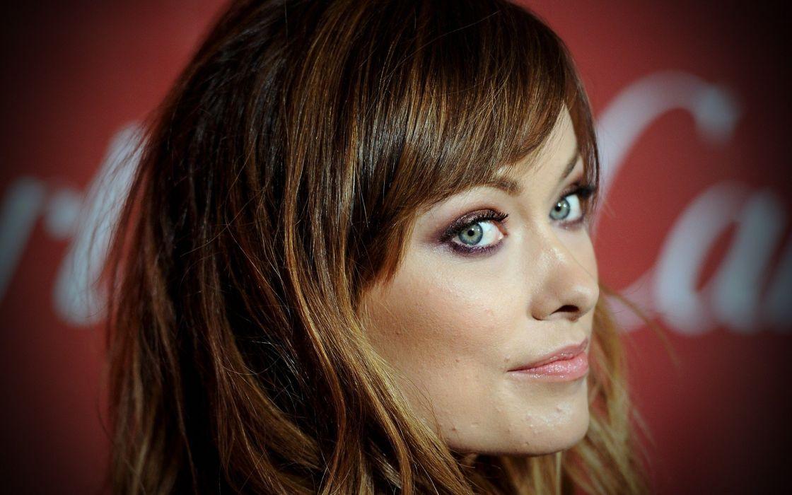women actress Olivia Wilde faces wallpaper