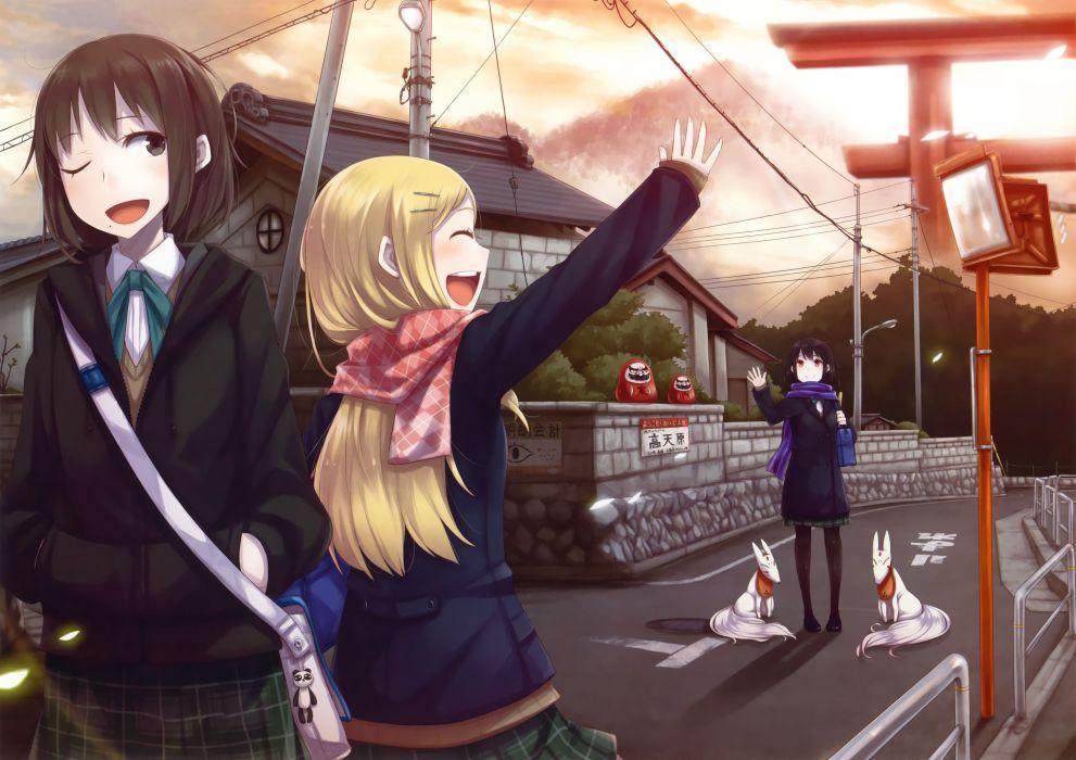 school uniforms torii anime girls scans Ayakura Juu original characters wallpaper