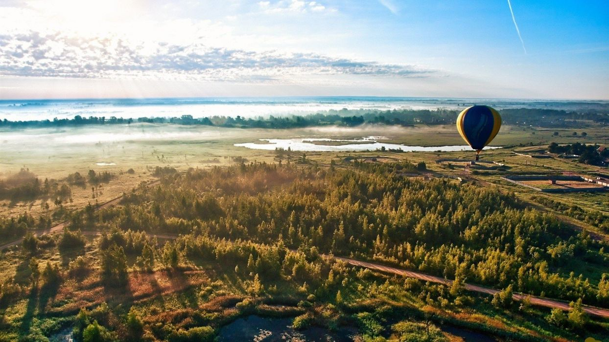landscapes nature horizon forests balloons sky wallpaper