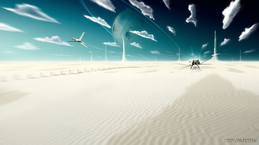clouds aircraft sand deserts science fiction artwork fictional landscapes Kuldar Leement wallpaper