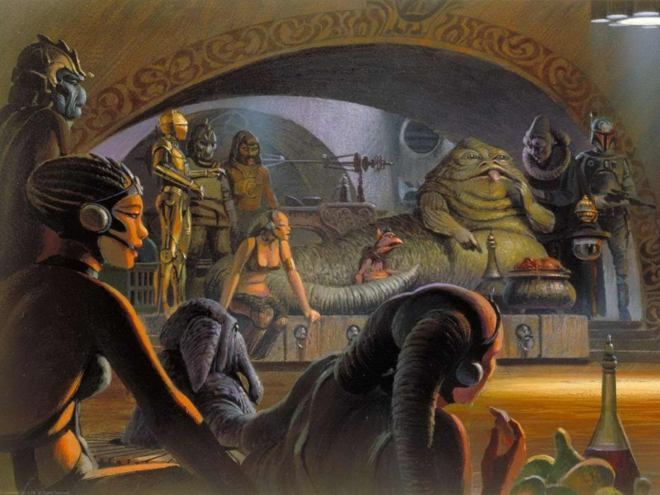 Star Wars artwork Ralph McQuarrie Jabba the Hutt wallpaper