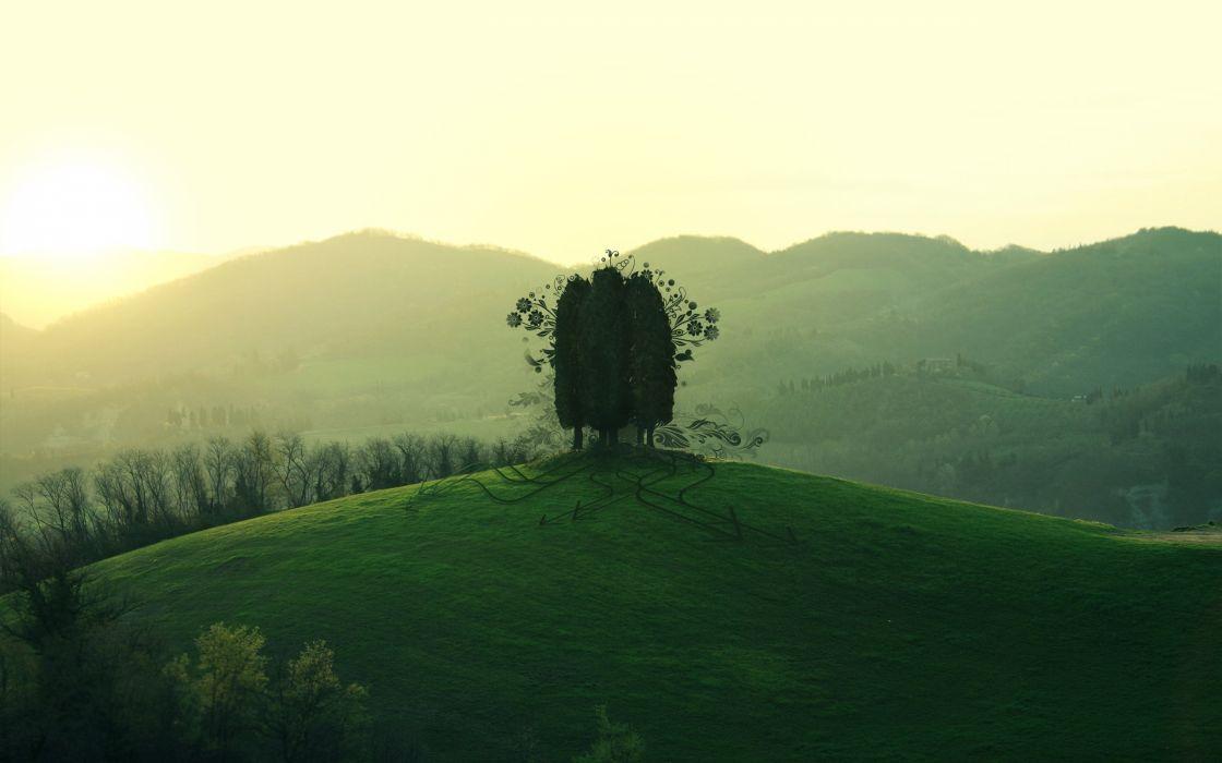 mountains landscapes artistic grass photo manipulation wallpaper