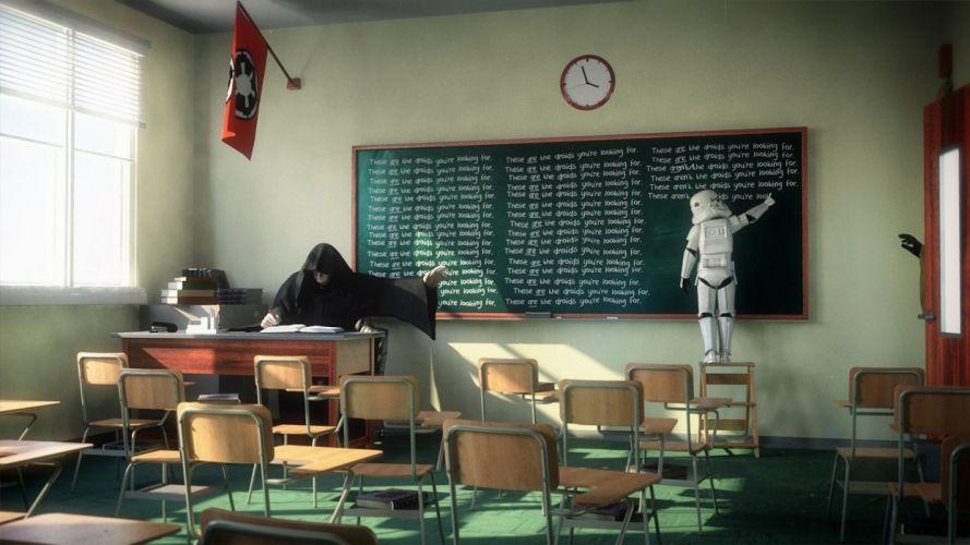 Star Wars death classroom blackboards artwork chalk Storm Trooper wallpaper