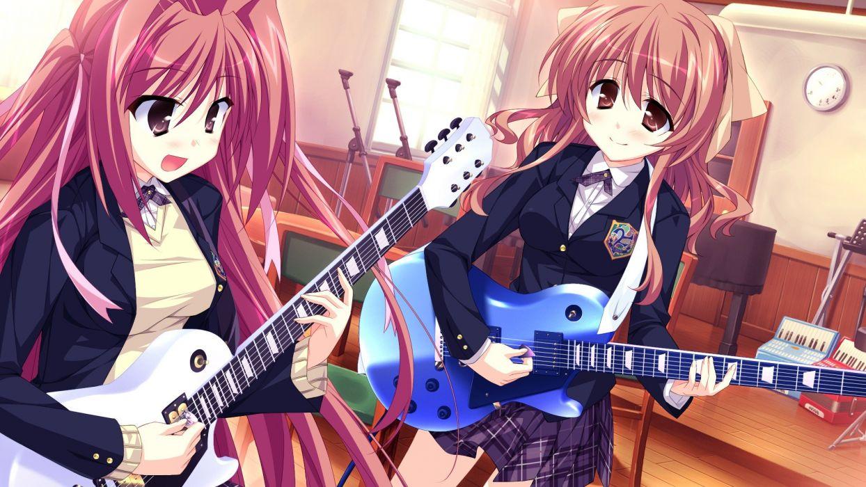 red brown Natsume Hyuuga Hinata seifuku game CG anime girls Skyfish wallpaper