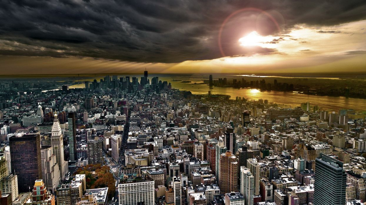 sunset landscapes cityscapes skylines architecture New York City skyscrapers wallpaper