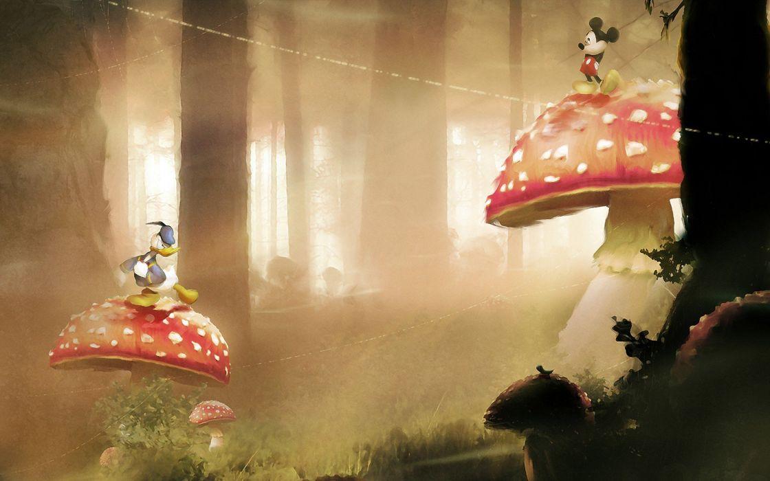 Disney Company mushrooms Mickey Mouse Donald Duck wallpaper