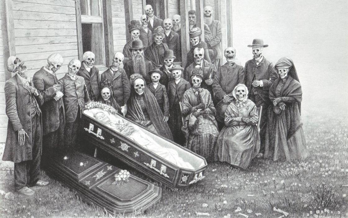skulls dead grayscale skeletons artwork drawings casket graphite Laurie Lipton wallpaper