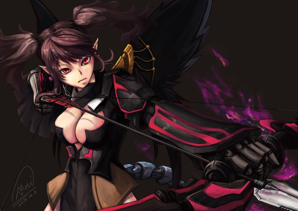 dragon nest archer (dragon nest) armor bow (weapon) brown hair cleavage dragon nest red eyes shou mai twintails weapon wallpaper