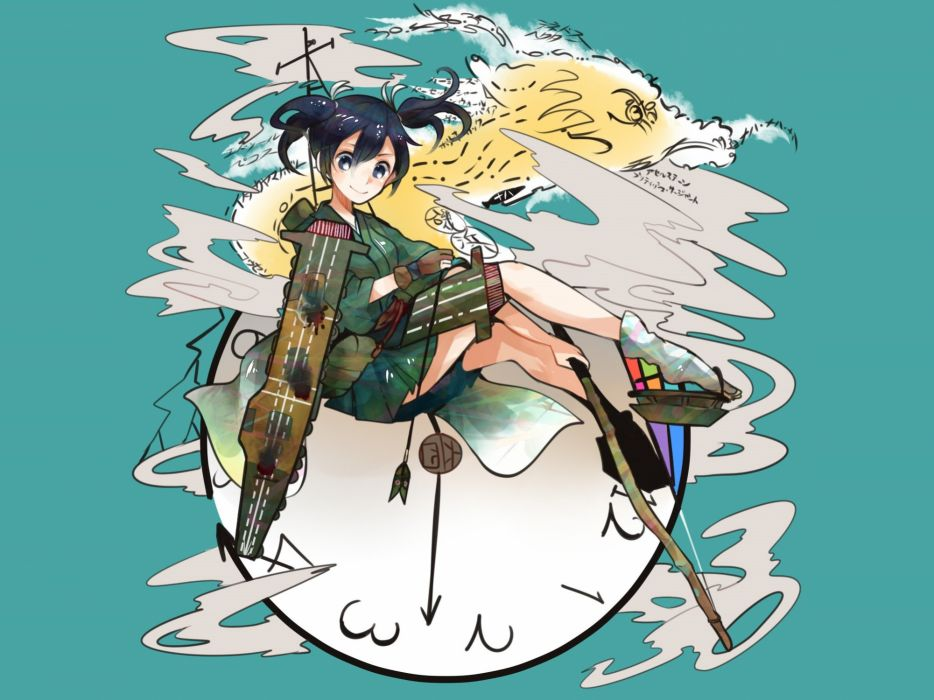 kantai collection black hair blue eyes blush bow (weapon) cyan itomugi-kun japanese clothes kantai collection short hair skirt socks twintails weapon wallpaper
