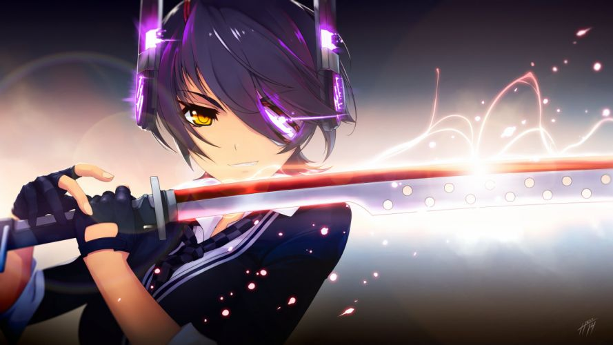 kantai collection black hair eyepatch gloves jpeg artifacts kantai collection purple hair short hair signed sword tenryuu (kancolle) tie weapon yellow eyes wallpaper