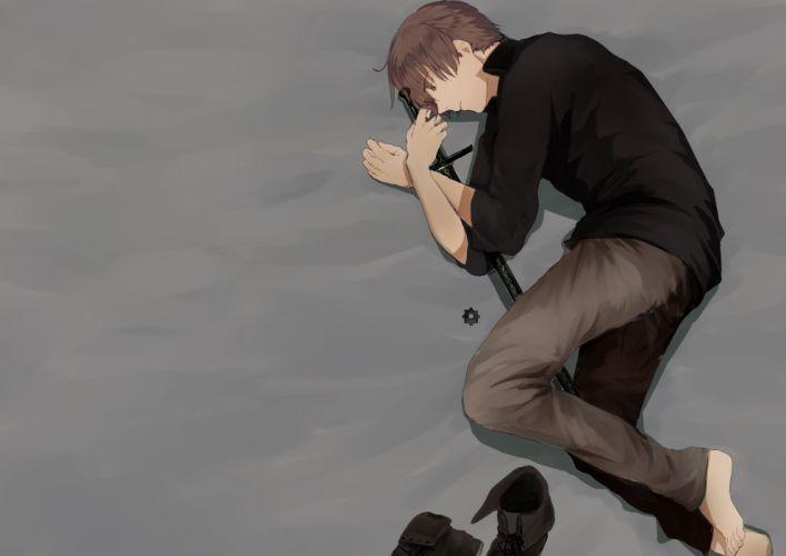 original barefoot boots brown hair gray male original shirt short hair sword toono weapon yellow eyes wallpaper