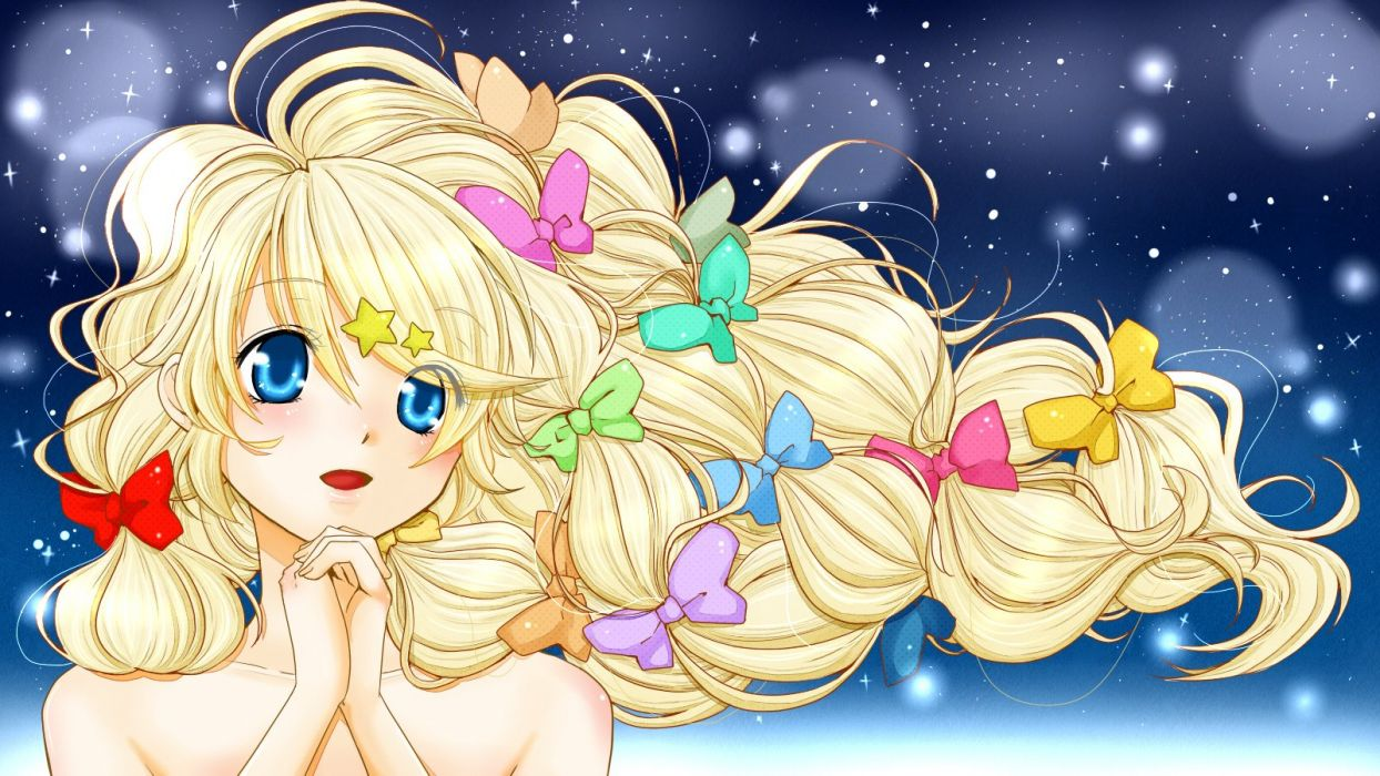 original blonde hair blue eyes bow long hair original ruka0811r wallpaper