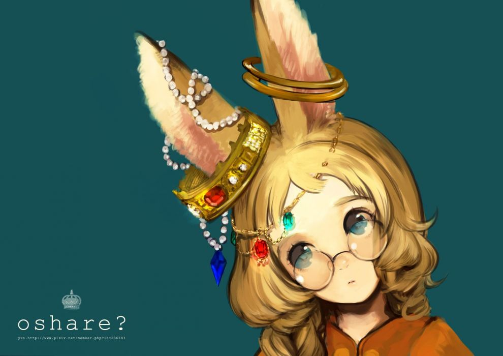 original blonde hair blue eyes bunny ears glasses jpeg artifacts original yun (bonopati) wallpaper