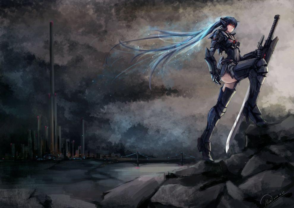 original blue hair mechagirl original red eyes shou mai sword weapon wallpaper