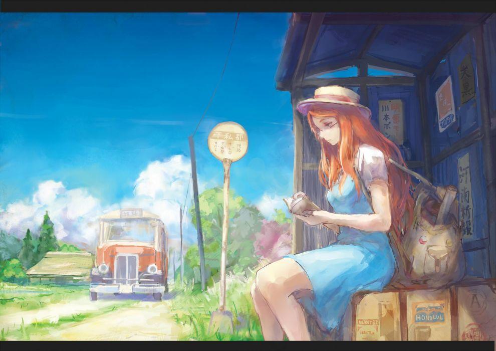 original book car clouds dress glasses hat long hair orange hair original sky tori (qqqt) tree wallpaper
