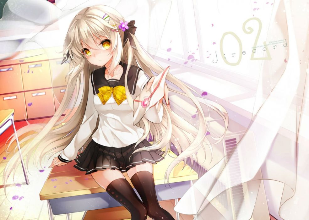 original bow juna long hair original seifuku thighhighs watermark white hair yellow eyes wallpaper