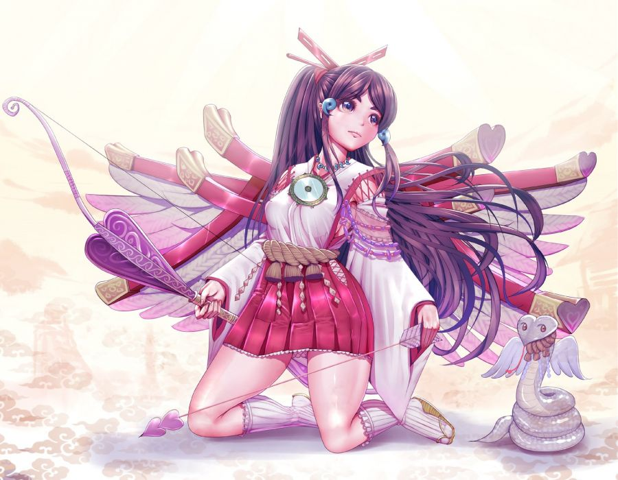original bow (weapon) harihisa japanese clothes original weapon wings wallpaper