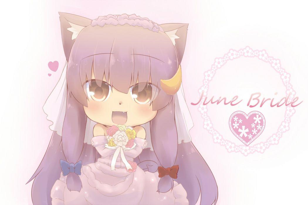 touhou animal ears blush brown eyes catgirl chibi fang hazuki ruu long hair patchouli knowledge purple hair touhou wedding dress wallpaper