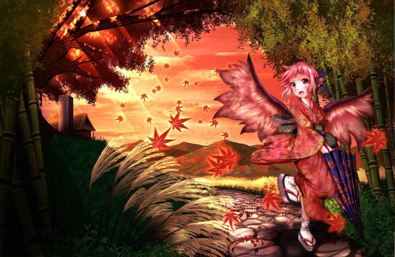 touhou autumn ddfftasogare grass japanese clothes mystia lorelei pink eyes pink hair short hair touhou wings (1) wallpaper