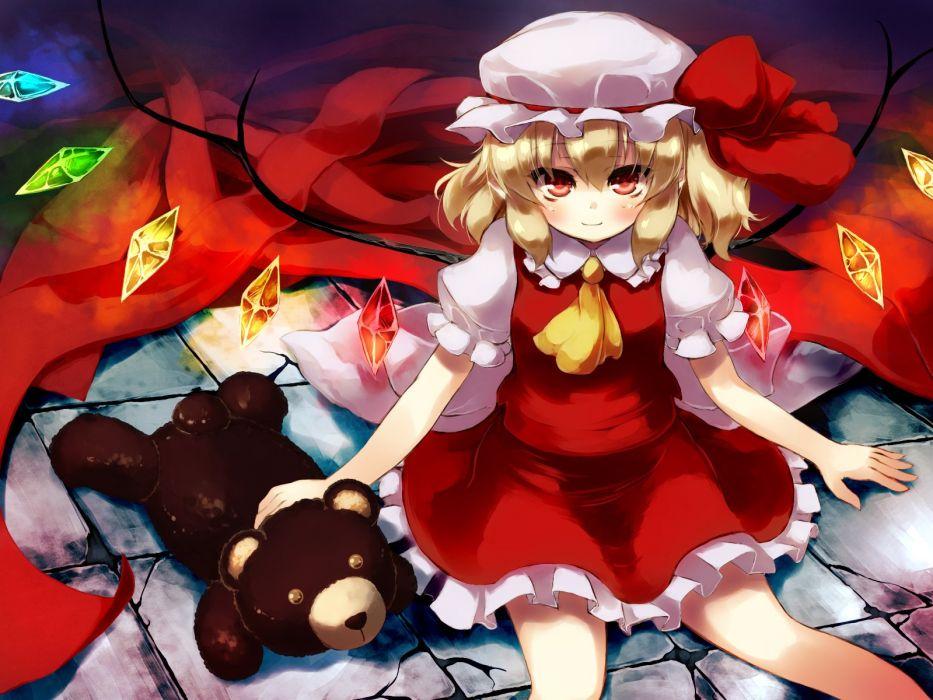 touhou blonde hair flandre scarlet gengetsu chihiro hat red eyes short hair teddy bear touhou wings wallpaper