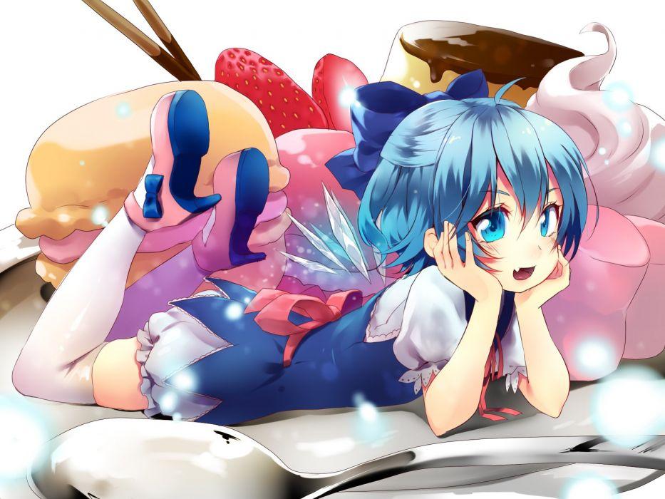 touhou blue eyes blue hair bow cake cirno fang food fruit hijiri-ssh short hair strawberry thighhighs touhou wings wallpaper