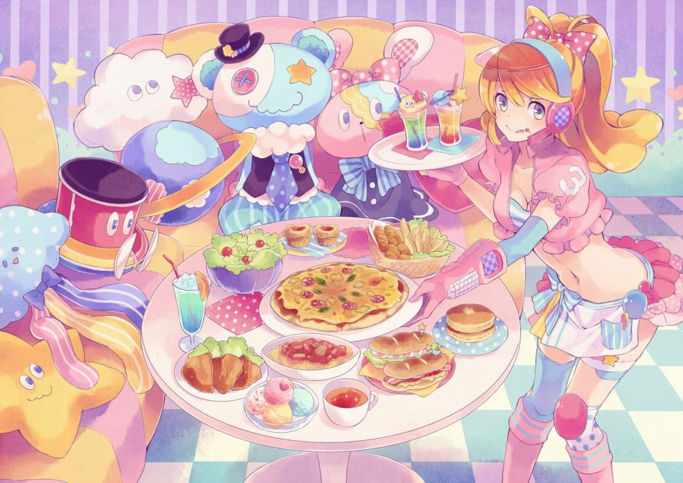 trillion starlights blonde hair blue eyes bow buuta cleavage drink food headphones hoshino nozomi long hair navel ponytail thighhighs trillion starlights waitress wallpaper