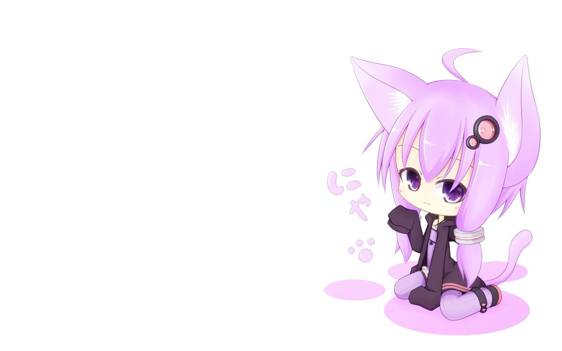 vocaloid animal ears catgirl chibi miiya (kuroi hako) purple eyes purple hair tail vocaloid white yuzuki yukari wallpaper