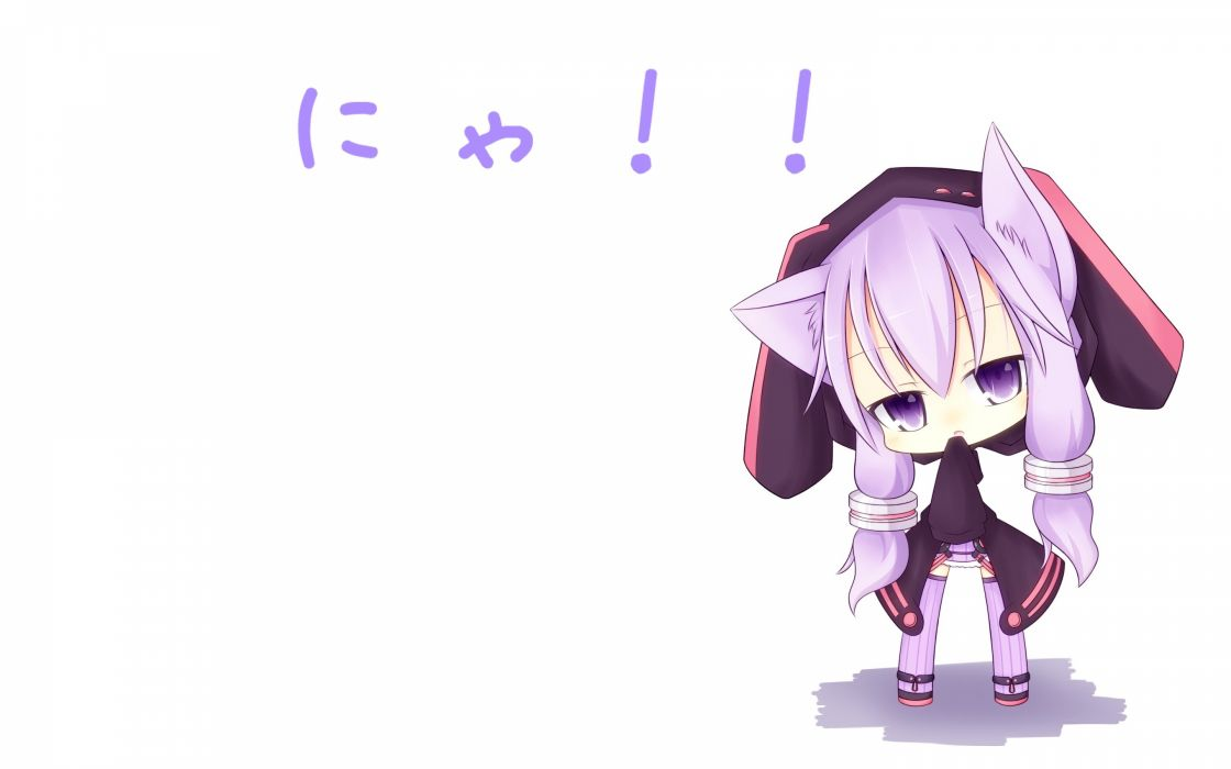 vocaloid animal ears catgirl chibi miiya (kuroi hako) purple eyes purple hair thighhighs vocaloid white yuzuki yukari wallpaper