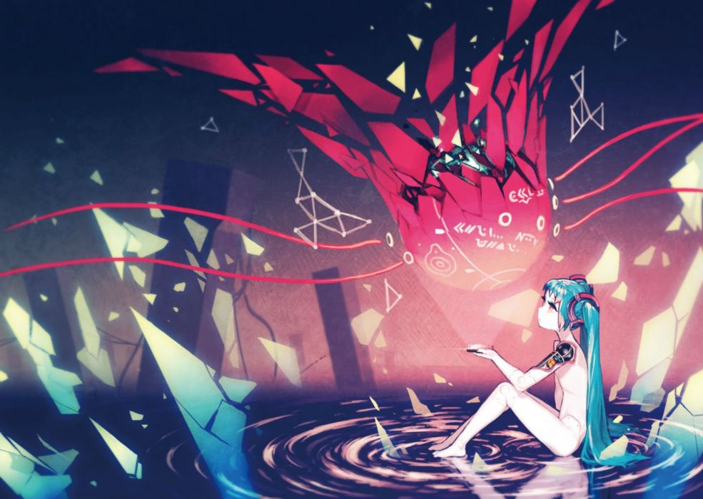 vocaloid aqua hair asgr hatsune miku long hair nude red eyes techgirl twintails vocaloid water wallpaper