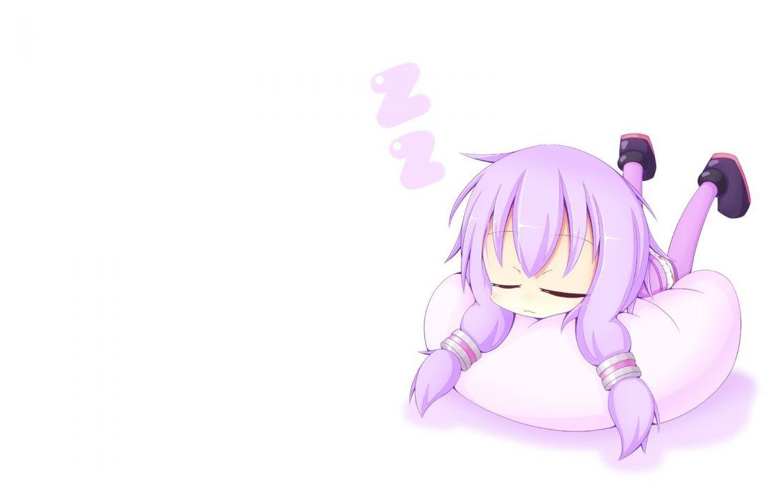 vocaloid cat smile chibi miiya (kuroi hako) purple hair sleeping thighhighs vocaloid white yuzuki yukari wallpaper