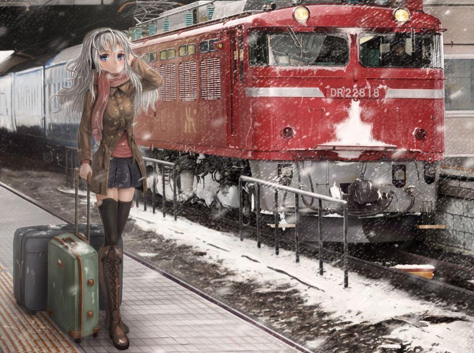 trains anime suitcase wallpaper