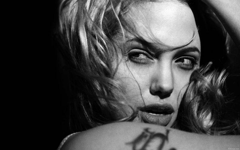 Angelina Jolie grayscale monochrome faces wallpaper