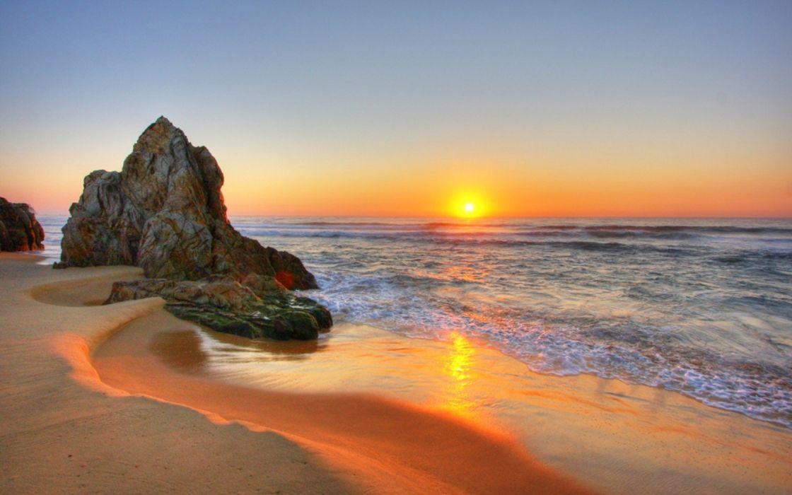 water sunset landscapes sand rocks beaches wallpaper