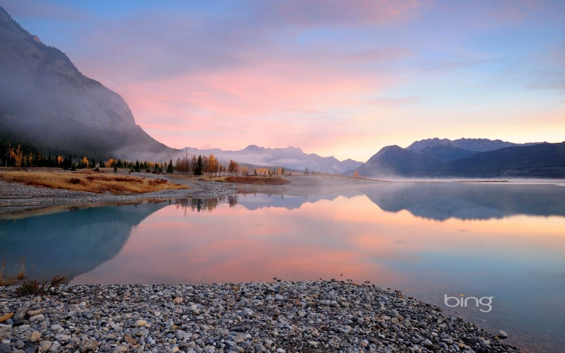 landscapes nature Abraham Lake wallpaper