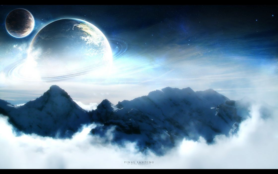 mountains clouds planets Moon skies wallpaper