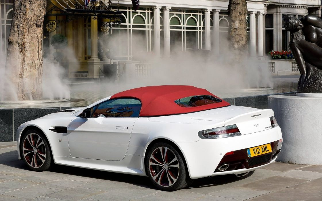 cars convertible white cars Aston Martin V12 Vantage RS wallpaper