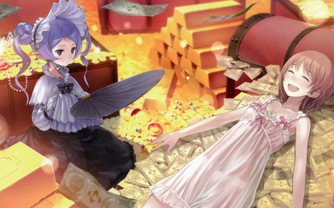 multicolor money gold cash Kishida Mel anime girls Atelier Rorona Atelier Totori Rororina Fryxell Hom (Female) wallpaper
