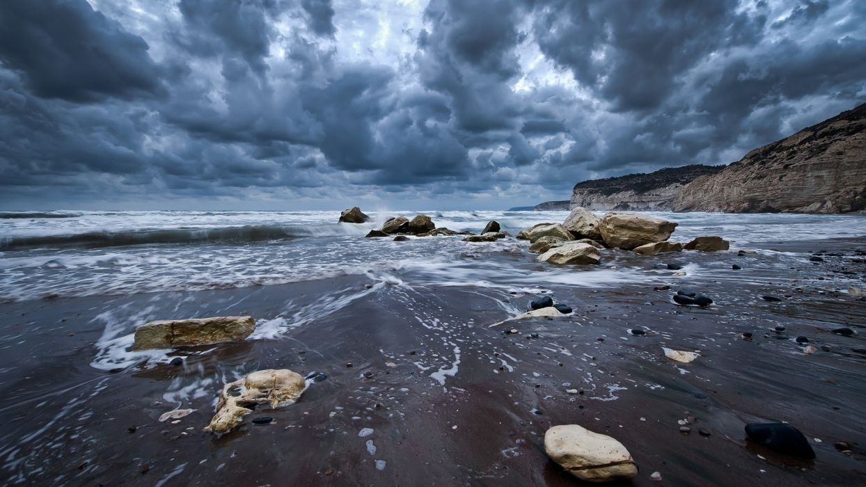 clouds nature coast waves rocks beaches wallpaper