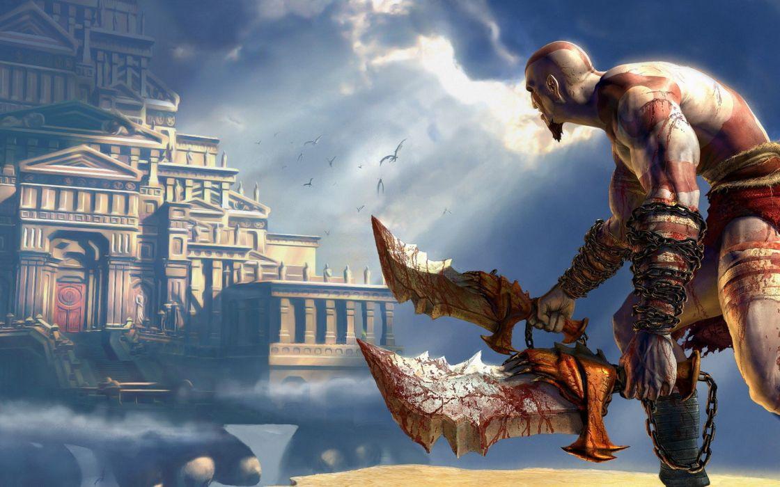 video games Kratos God of War games wallpaper