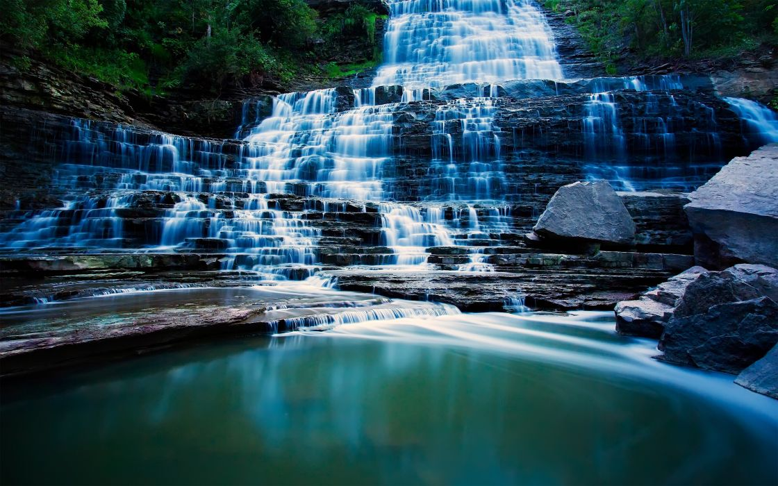 water landscapes nature forests Canada long exposure HDR photography waterfalls ontario albion falls wallpaper