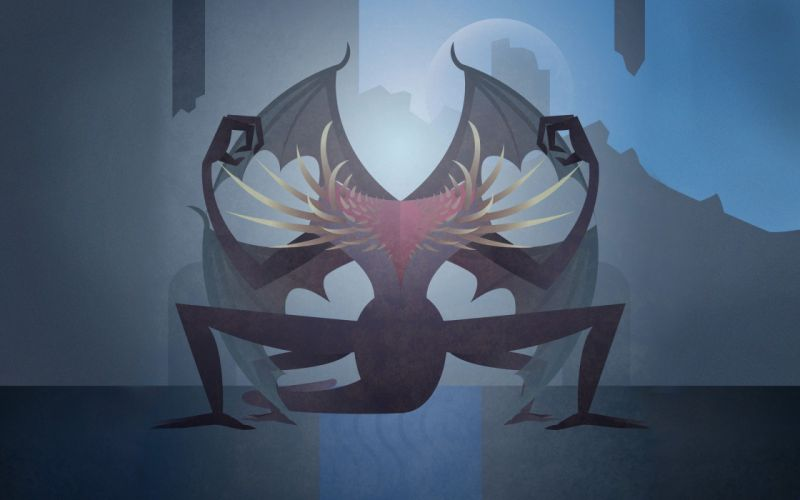 minimalistic dragons Dark Souls gaping dragon wallpaper