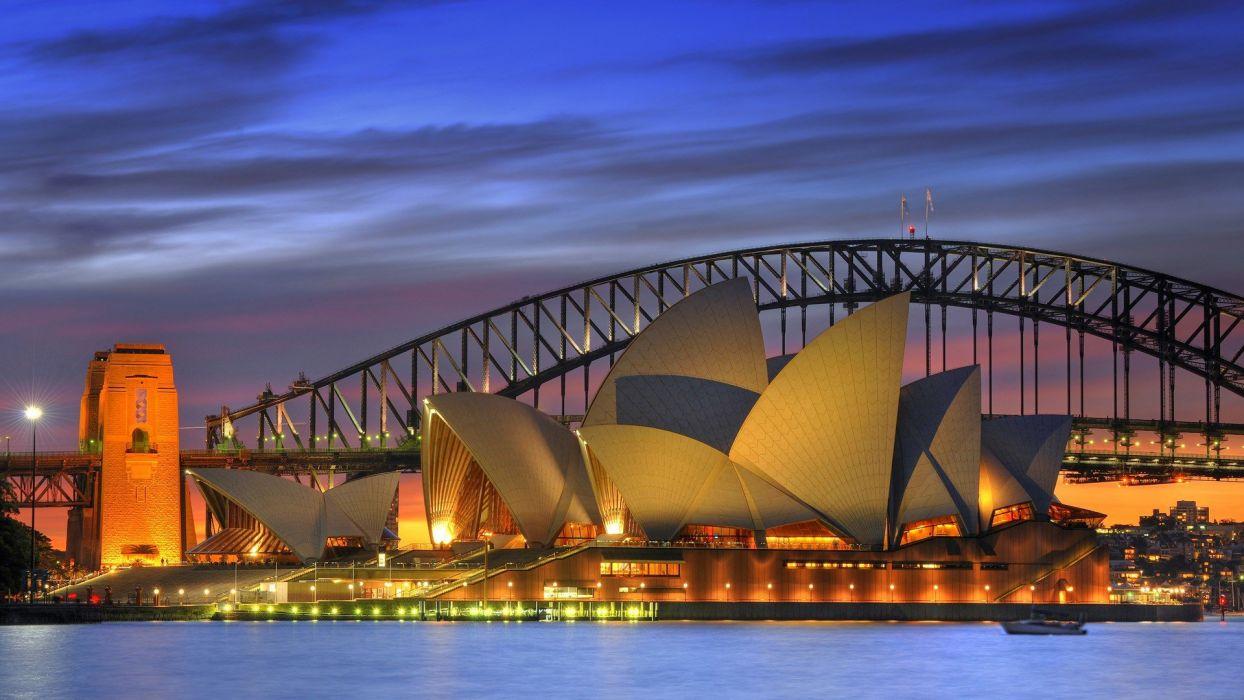 night bridges opera house Australia Harbor Sydney Opera House wallpaper