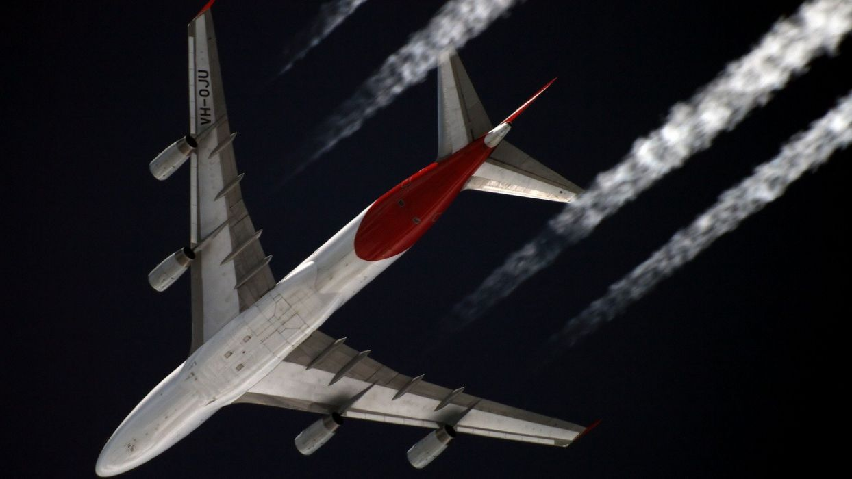 aircraft airliners contrails Boeing 747 wallpaper