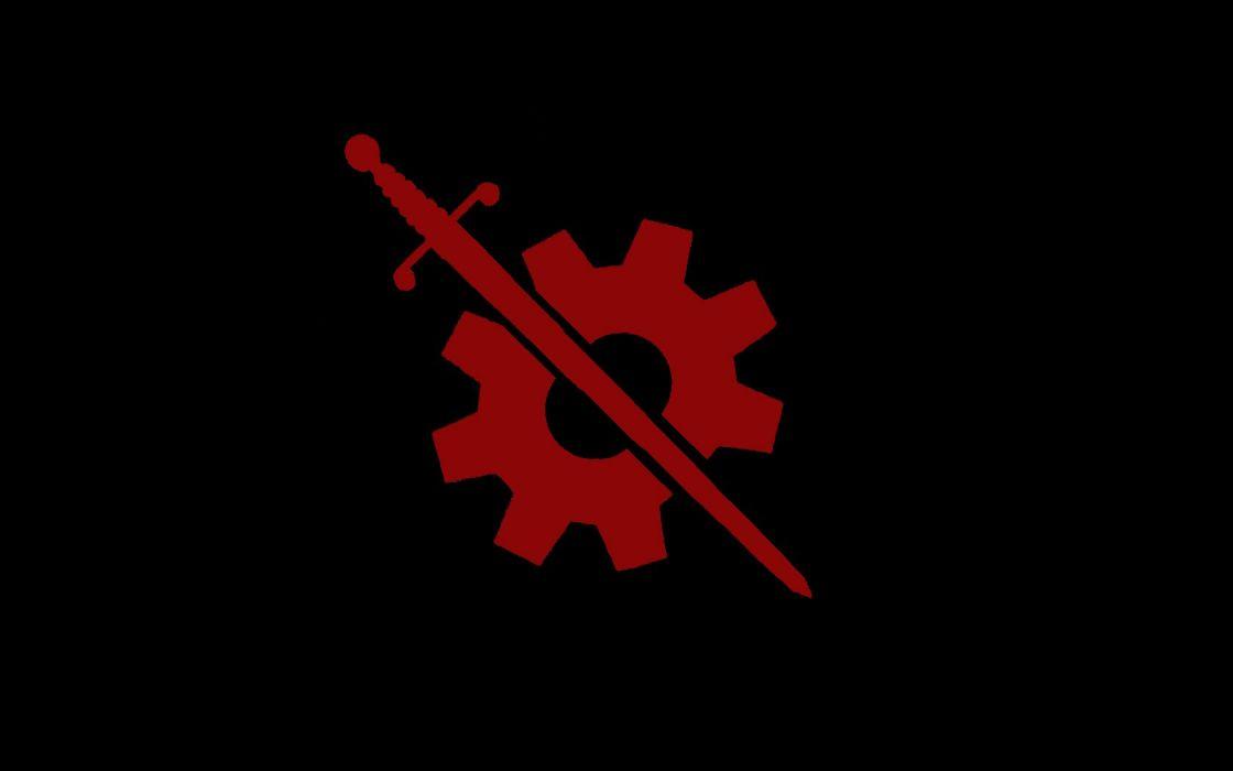 minimalistic gears swords wallpaper