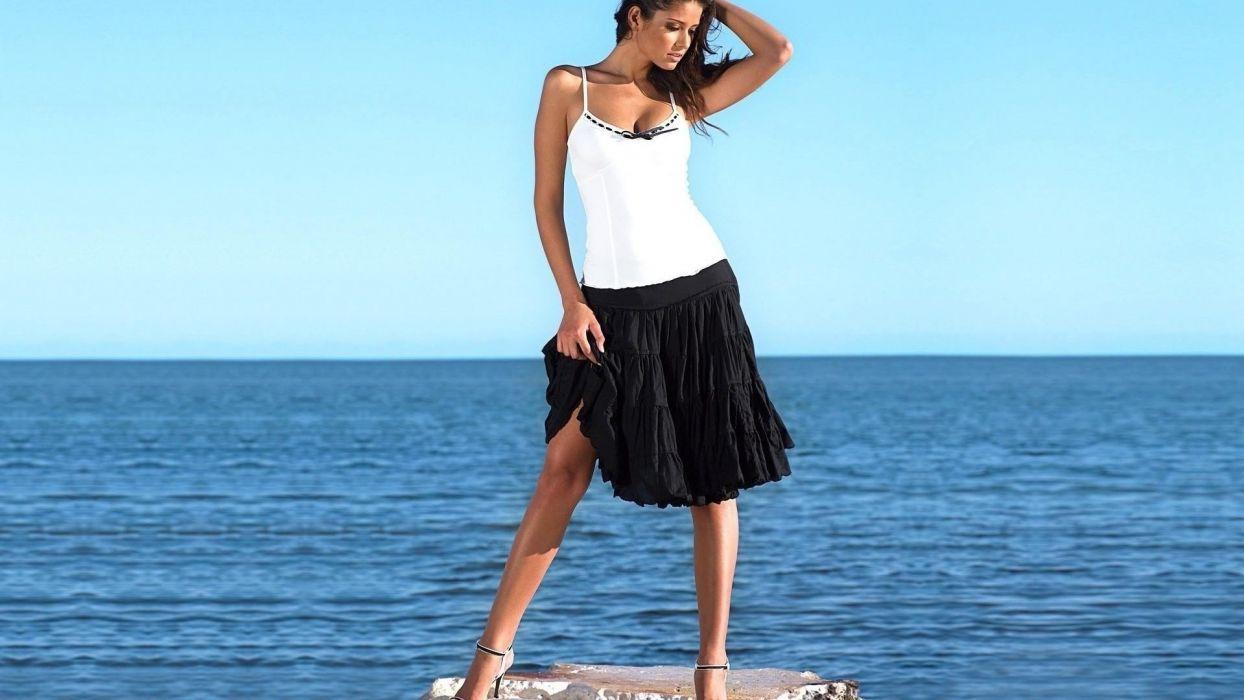 brunettes women skirts Carla Ossa models wallpaper