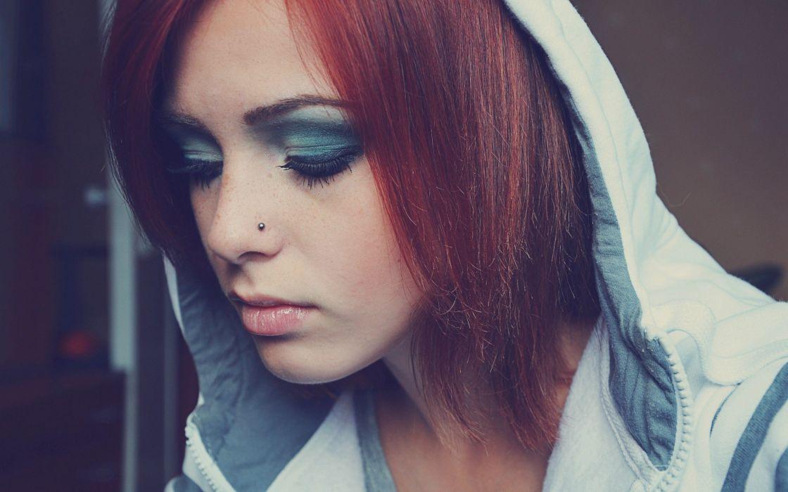 women redheads piercings wallpaper