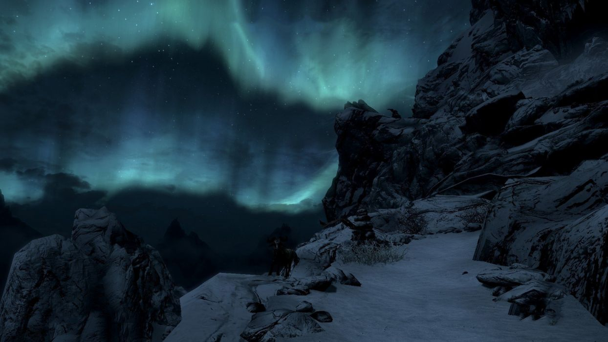mountains snow skyscapes The Elder Scrolls V: Skyrim wallpaper