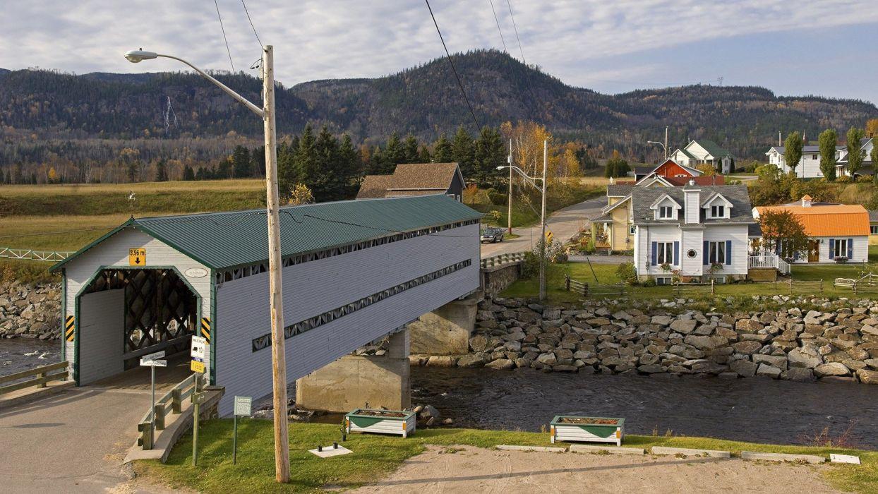 Canada Quebec fjord covered bridge wallpaper
