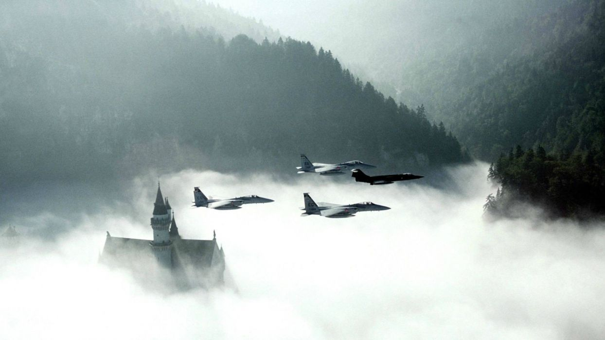 mountains clouds castles forests mist jet aircraft wallpaper
